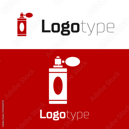 Red Aftershave bottle with atomizer icon isolated on white background Wallpaper Mural