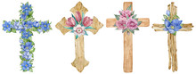 Watercolor Set Of Wooden And Floral Crosses Decorated With First Spring Flowers Isolated On The White Background.