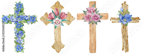 Fotografie, Obraz Watercolor set of wooden and floral crosses decorated with first spring flowers isolated on the white background