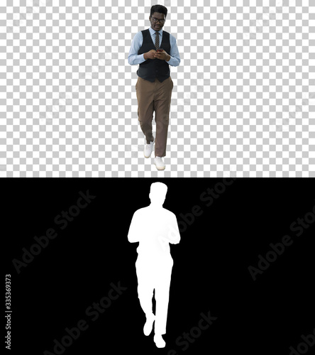African man plays a trumpet and walks, Alpha Channel Wallpaper Mural
