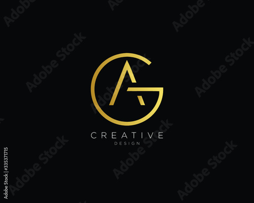 Letter GA AG Logo Design, Creative Minimal GA AG Monogram In Gold Color Canvas Print