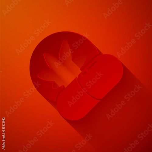 Foto Paper cut Herbal ecstasy tablets icon isolated on red background