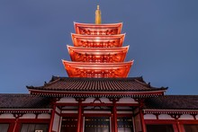 Partial View Of The Lit Five-story Pagoda Of Senso-ji In Tokyo Japan