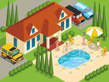 Rich People Villa Isometric Il...