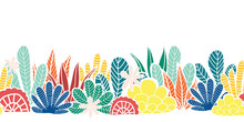 Abstract Plants Collage Seamle...