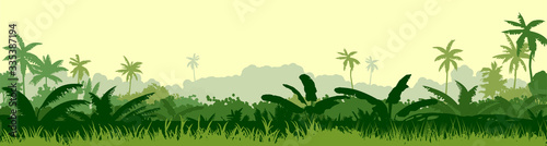 Obraz Tropical plants, herbs. The jungle, the savannah. Vector. Dense thickets of meadow. Light foggy green horizon, lush young grass and shrubs. Spreading palm trees in the distance. Background landscape. - fototapety do salonu