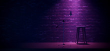 Neon Glowing Stage Podcast Interview Song Sing Night Concert Chair Podium Purple Blue MIcrophone Garage Brick Wall Reflective Music Studio Event Background Show 3D Rendering