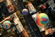 canvas print picture - Top view of the hot air balloons over the old buildings of a city