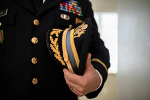 Close Up Male Military Officer In Dress Uniform Holding Hat