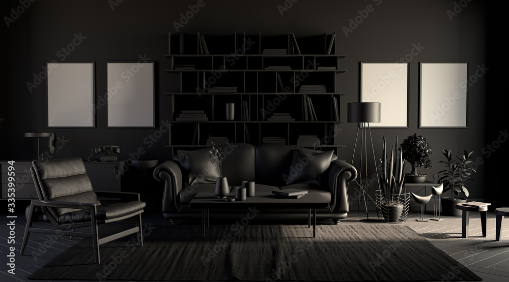 Fototapeta Dark room with picture frames in plain monochrome black color with sofa,chair,bookshelf on a carpet. Black background. 3D rendering