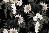 Tropikalne rocznika czarna pantera zwierząt, biały kwiat lotosu, biała orchidea, liście palmowe kwiatowy wzór czarne tło. Tapeta egzotycznej dżungli. - 335399554