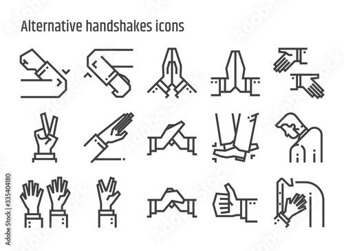 Alternative handshakes icons. Canvas Print