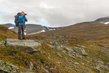 Female Hiker Witt Backpack At Kungsleden Trail Admiring Nature Of Sarek