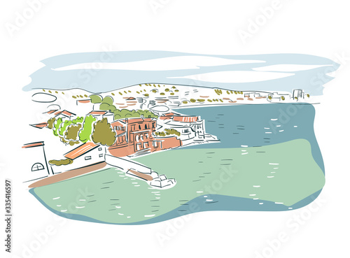 Valokuvatapetti Saint Tropez France Europe vector sketch city illustration line art