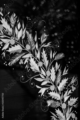Black and white floral window painting