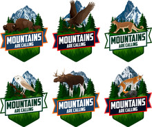 The Mountains Are Calling. Vector Outdoor Adventure Inspiring Motivation Emblem Logo Illustration With Barn Owl, Family Of Brown Zubr Buffalo Bisons, Bald Eagle, Moose,  Lynx And Puma Cougar