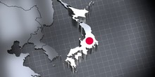 Japan - Borders And Flag - 3D ...