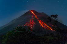 Eruption Of Arenal Volcano At Night