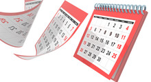Calendar April 2020 Flying Pages Isolated Red - 3d Rendering