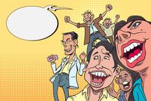 Happy Laughing Cartoon Characters, Pop Art Retro Comedy Comic Books.