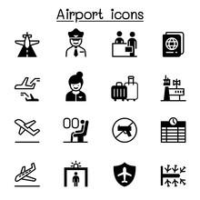 Airport, Aviation Icon Set Vec...