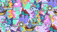Magic Unicorn. Seamless Pattern. Vector Illustration. Suitable For Fabric, Wrapping Paper And The Like