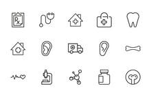 Health Line Icons Set.