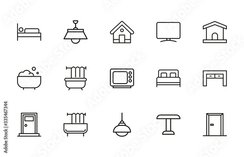 Simple set of house modern thin line icons. Fotobehang
