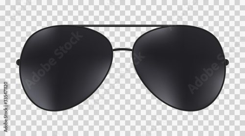 Aviator police isolated sunglasses . Poster Mural XXL