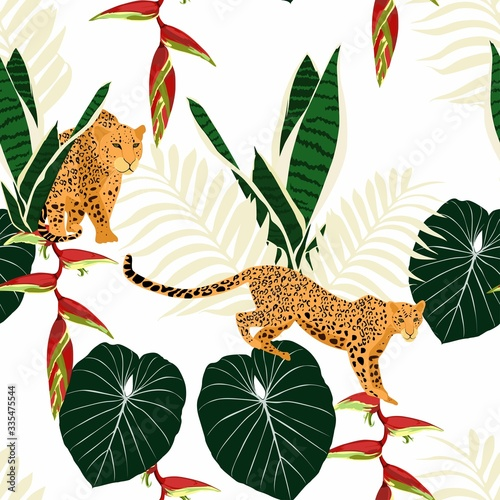 Seamless pattern with leopards, tropical leaves and paradise flowers. Trendy style. Vintage background. Wall mural