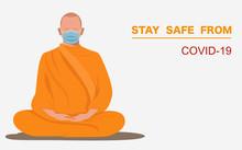 Thai Monk Wearing Surgical Fac...
