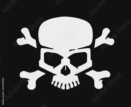 Skull and bones. Jolly roger pirate vector flag. Slika na platnu