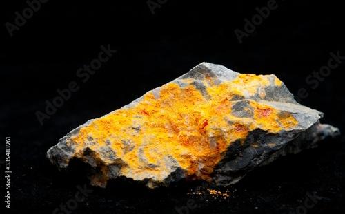 A realgar mineral with stibnite and granite Canvas Print