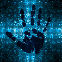Safety Concept, Closed Padlock On Digital, Cyber Security. Key, Sci Fi, Fingerprint. Scanning. Hand Print.