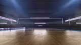 Volleyball stadium with people fan. Sport arena. Render 3D. Illustration.