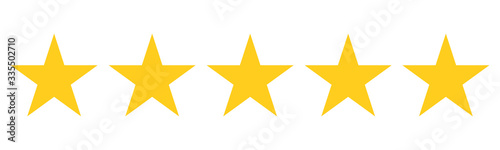 Obraz 5 Star Rating Reviw with five golden stars as vector icons - fototapety do salonu