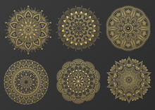 Set Of Round Gold Ornament Mandala. Mandala With Floral Patterns. Yoga Template. Vector Illustration