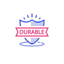 Durable Concept, Quality Guarantee, Warranty Shield, Vector Illustration
