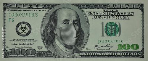 100 US dollars, Franklin with a medical mask on his face Slika na platnu