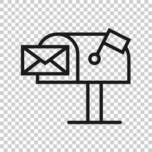 Mailbox Icon In Flat Style. Po...