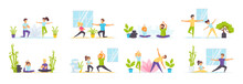 Family Yoga Set With People Characters In Various Scenes. Happy Couple Doing Yoga Exercises And Meditating In Lotus Pose. Bundle Of Practicing Yoga At Home In Flat Style. Healthy Lifestyle And Sport
