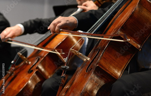 Cuadros en Lienzo Symphony orchestra on stage, hands playing cello