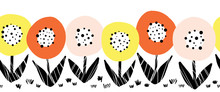 Seamless Flower Vector Border. Cute Florals Scandinavian Flat Style Repeating Pattern. Botanical Minimalistic Doodle Flowers Pink Orange Yellow Black On White In A Horizontal Row. For Card Decor