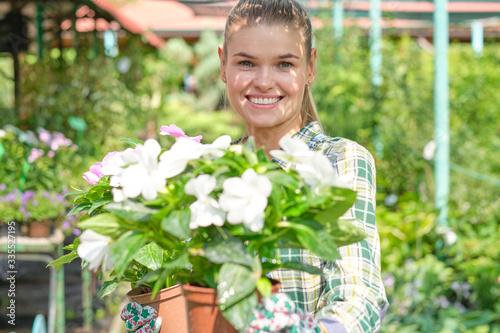 Fototapeta Lovely happy young woman gardener choosing flower pot with anthuriums in garden center obraz