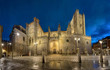 Avila, Spain. Panoramic view of Romanesque-Gothic cathedral built into the city walls
