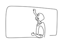 Person Writing On Blank Board To Explain Something. Continuous Line Drawing. Vector Illustration.