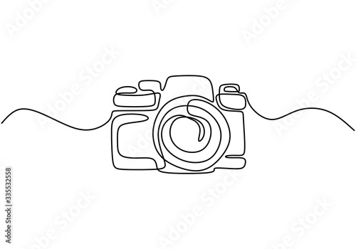 Fotomural One line drawing of camera linear style