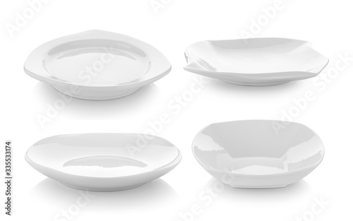 Empty plate on white background Canvas Print