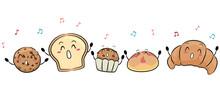 Mascot Bread Pastries Singing Illustration