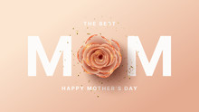 Happy Mother's Day Card Template. Holiday Greeting Card With Realistic 3d Gentle Flower With Golden Sand. Vector Illustration With Paper Pink Rose And Gold Confetti.